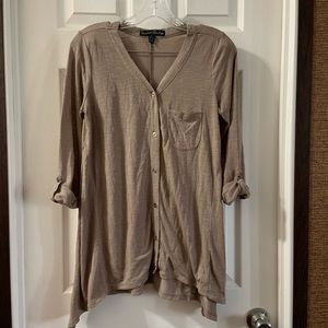 French Laundry Brown V Neck Button Down Top S